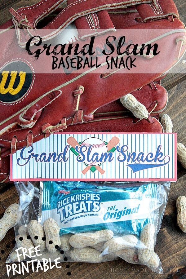 A simple baseball snack idea for a baseball party, or for a snack during a baseball game. Free baseball snack printable included.