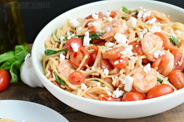 Fresh tomatoes, basil, and shrimp cooked with linguine noodles and finished with feta cheese. A simple one pot dinner recipe.