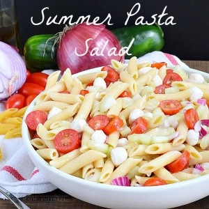 This Pasta Salad Uses Fresh Cubers And Tomatoes With A Splash Of Olive Oil And Vinegar