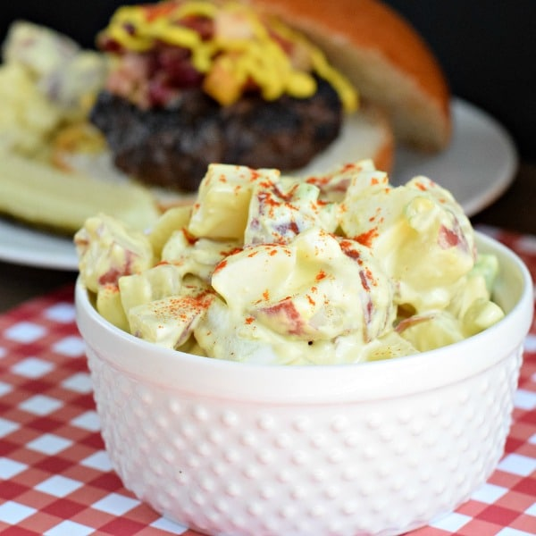 The perfect side to serve with hot dogs and burgers on the grill. Zesty potato salad made with yellow mustard.