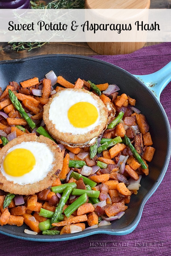 A great quick breakfast or brunch recipe! This hash is made with sweet potatoes and asparagus with a baked egg on top.
