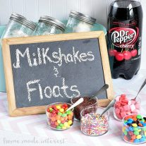 This milkshake and float bar was so fun! The kids and adults all loved picking out their favorite ice cream treats and toppings and creating their own milkshake or float. It was a great idea for an ice cream party.
