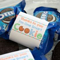 "This ""Thanks to You I'm One Smart Cookie"" printable label is perfect for an end of the school year gift for teachers or Father's Day. Wrap them around a pack of cookies and let your kids give them to the people who have helped them the most!"