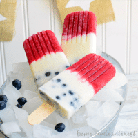 These Red White and Blue Popsicles are made fresh summer fruit, raspberries & blueberries, for a delicious, cool dessert for Memorial Day, 4th of July, or Labor Day! Kids and adults will love these all natural, fruit and yogurt popsicles at all of your summer parties.