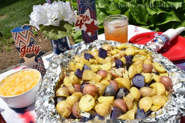 Yum! Diced up potatoes baked in a foil packet with a mix of herbs and butter. Great way to grill your potatoes!