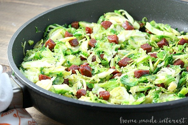 I love making brussels sprouts and chorizo as a side dish or, on a busy weeknight, I add some crumbled feta or goat cheese and have a quick dinner.