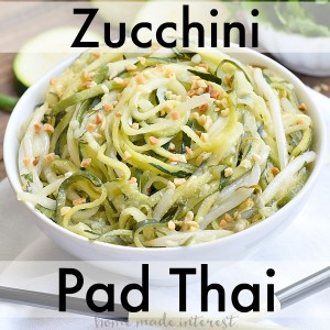 This zucchini pad thai is low carb and gluten-free. Made with SPLENDA® it has no sugar, and the zucchini noodles (zoodles) are made using a spiralizer. It is a great substitute for traditional pad thai!