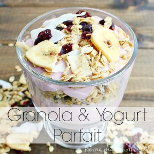 A simple snack you can throw together in less than 5 minutes! Granola and yogurt parfaits will keep your hunger at bay for hours.