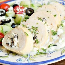 I love olives so these Greek chicken roll-ups with tzatziki are one of my favorite easy dinner recipes!