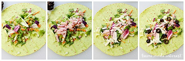 I buy salads for lunch a lot. Wrapping them up in these low carb wraps is a simple way to keep salad from getting boring.