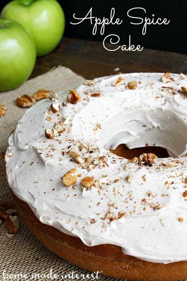 The apple spice cake recipe screams Fall! Apple chunks baked into a spice cake with cinnamon cream cheese frosting. It smells like heaven and tastes even better.