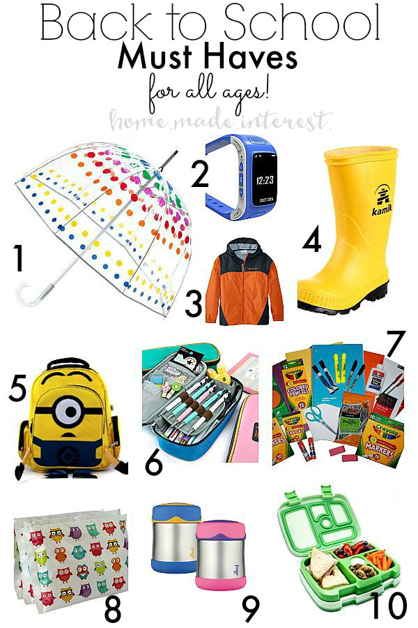 All your questions answered on this year's back to school must haves. A list for all ages from school supplies, lunch and safety.