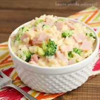 This Cheesy Ham & Broccoli rice bowl is a quick lunch, dinner or snack recipe. Kids will love it!