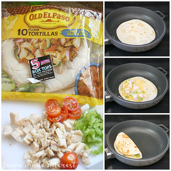 Chicken and cheese melted together inside of a flour tortilla. A simple snack or a quick and easy dinner recipe.