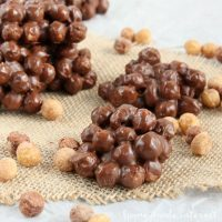Reese's® Peanut Butter Puffs® cereal tossed with peanut butter and chocolate then dropped in small clusters. It is a great afterschool snack or simple party treat.