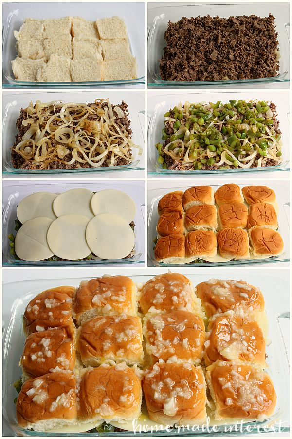 Steps for making Philly Cheesesteak Sliders