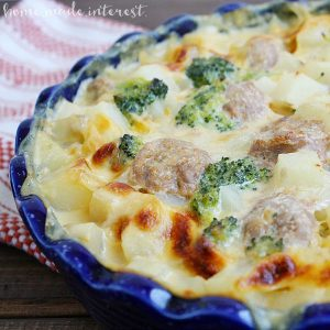 This simple casserole is a whole meal rolled into one. Turkey sausage, potatoes and broccoli cooked in a creamy cheese sauce. Yum!
