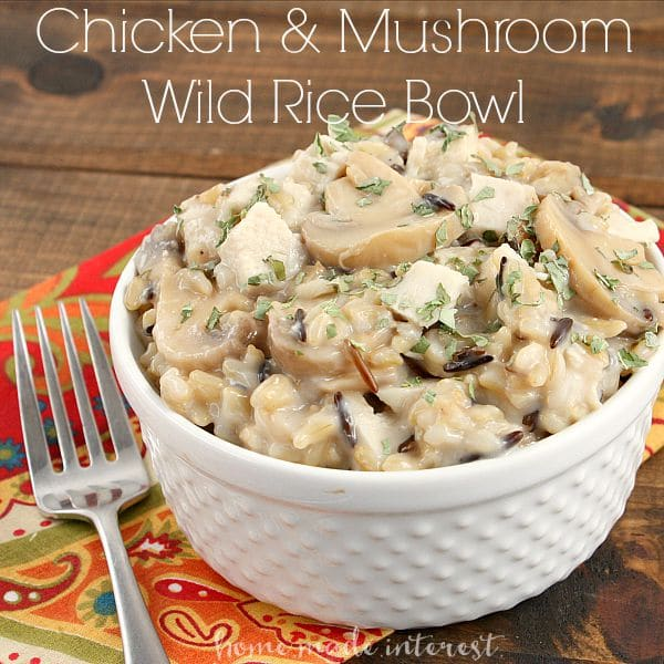 This creamy chicken and mushroom wild rice bowl is fast and easy and tastes just like a casserole my mom used to make. It's a quick solution for lunch at work or school!