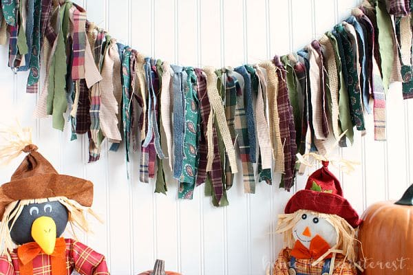 This plaid, and burlap rag banner is a fun fall decoration.