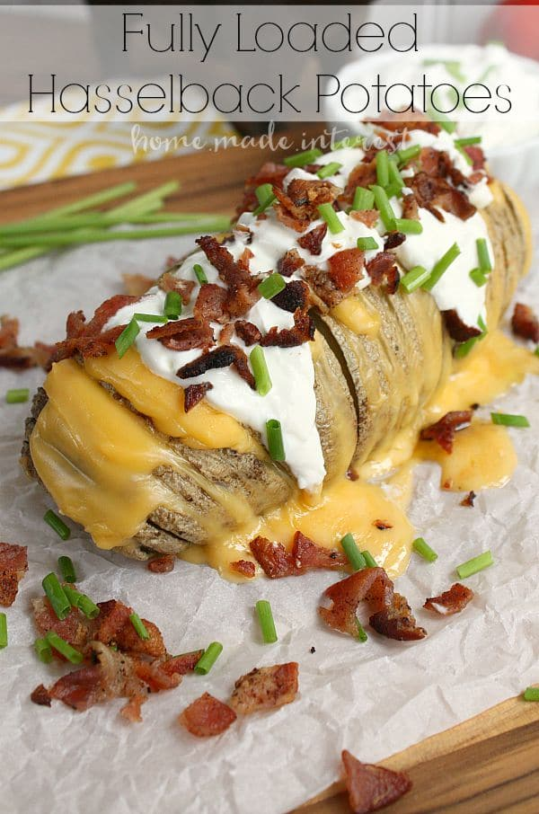 Hasselback potatoes is a different way to serve potatoes at your next party or holiday dinner. These fully loaded potatoes are filled with cheese and covered in all the fixin's, bacon, sour cream, butter, chives.