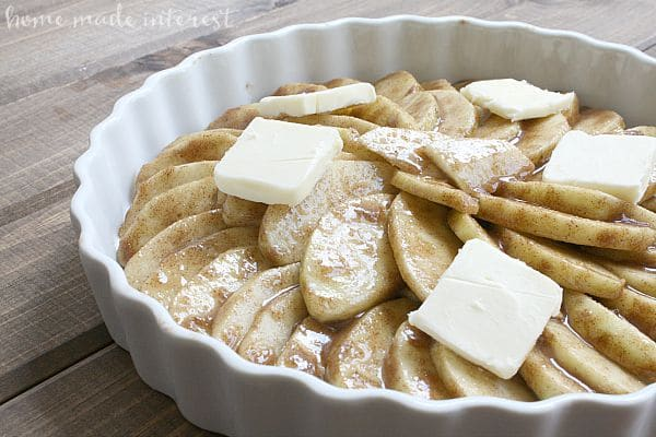 This fall recipe is the best part of an apple pie. Scalloped apples are baked with cinnamon and sugar until they are warm and bubbly. A simple fall dessert for apple lovers.