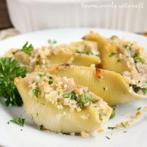 Tuna casserole was one of my favorite meals as a kid and now that I am grown up I love it because it is an easy dinner recipe! I've put a little spin on this classic comfort food by turning it into these Tuna Casserole stuffed shells.