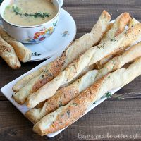 These crispy, cheesy, breadsticks are made with puff pastry. It's an easy bread recipe that goes great with soups and salads.
