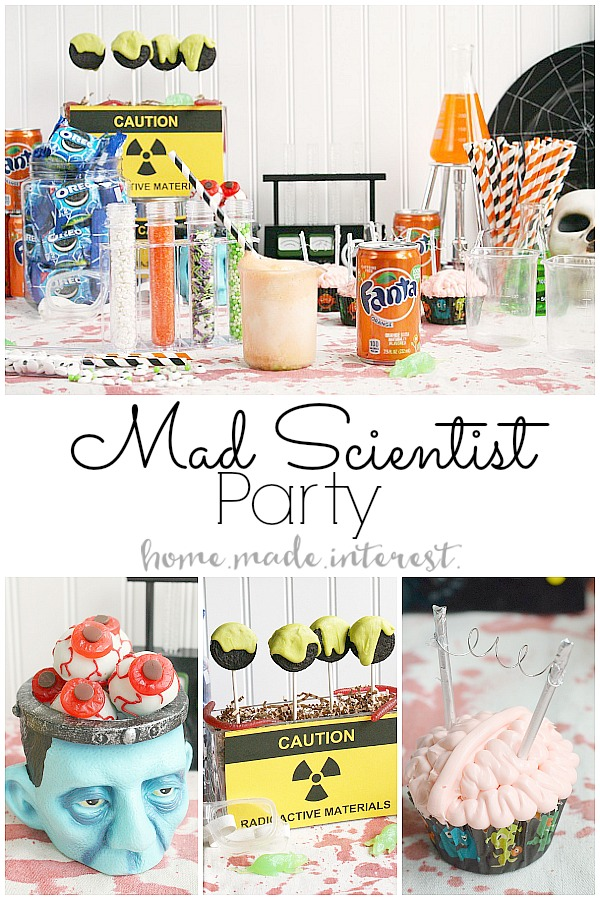 Halloween is all about food, fun, and being creepy. We've got some ideas for a simple Mad Scientist Halloween Party. Brain cupcakes, OREO ball eyeballs, and ice cream floats make with creepy ingredients!
