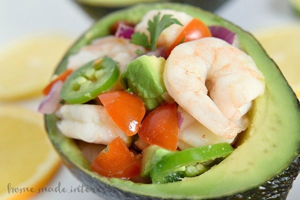 This shrimp ceviche is light and healthy lunch option or an easy appetizer recipe for the holidays. Serve it in an avocado for a simple lunch or dinner!