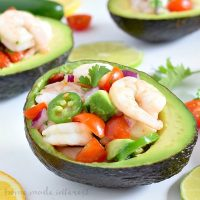 This shrimp ceviche is light, low carb recipe that is a great healthy lunch option or an easy appetizer recipe for the holidays. Serve it in an avocado for a simple lunch or dinner!