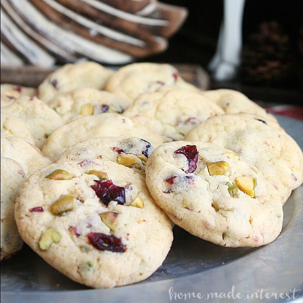 these cranberry and pistachio cookies are an easy christmas cookie recipe are packed with white chocolate dried cranberries and pistachios