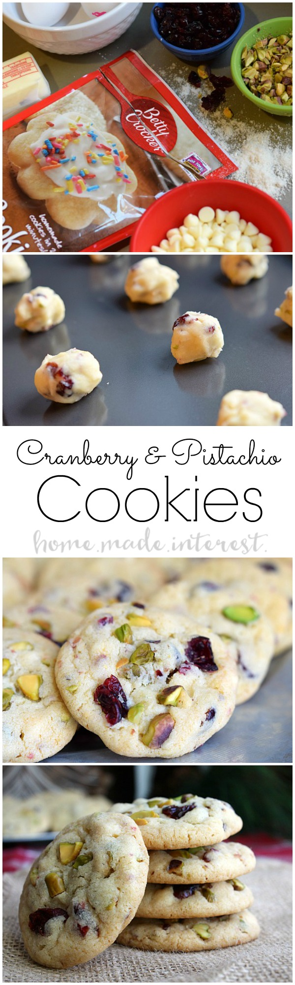 Cranberry and pistachio cookies home made interest for Simple christmas cookie and candy recipes