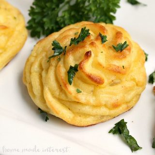Duchess potatoes are an easy way to make mashed potatoes into something fancy. This duchess potatoes recipe will impress your guests this holiday season!