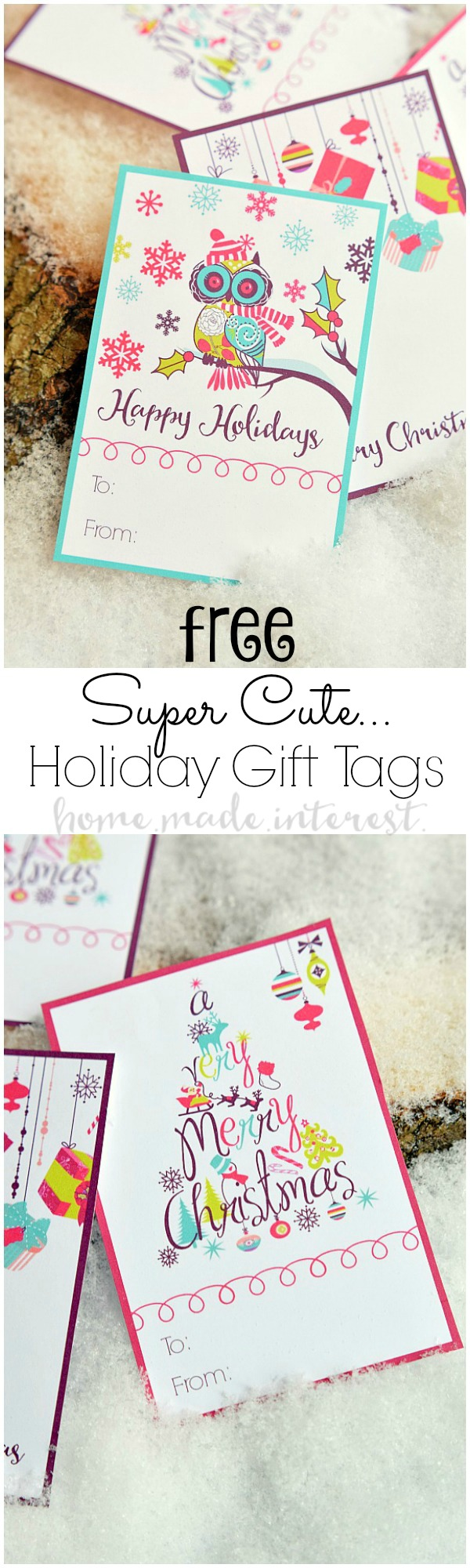 these free printable christmas gift tags are a simple way to add a little color to