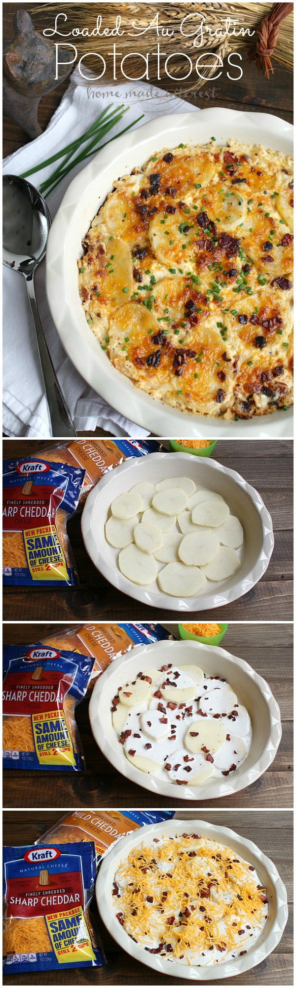 This Loaded Au Gratin Potatoes recipe is a delicious alternative to boring old baked potatoes. Loaded Au Gratin Potatoes are full of cheese, sour cream, and bacon.
