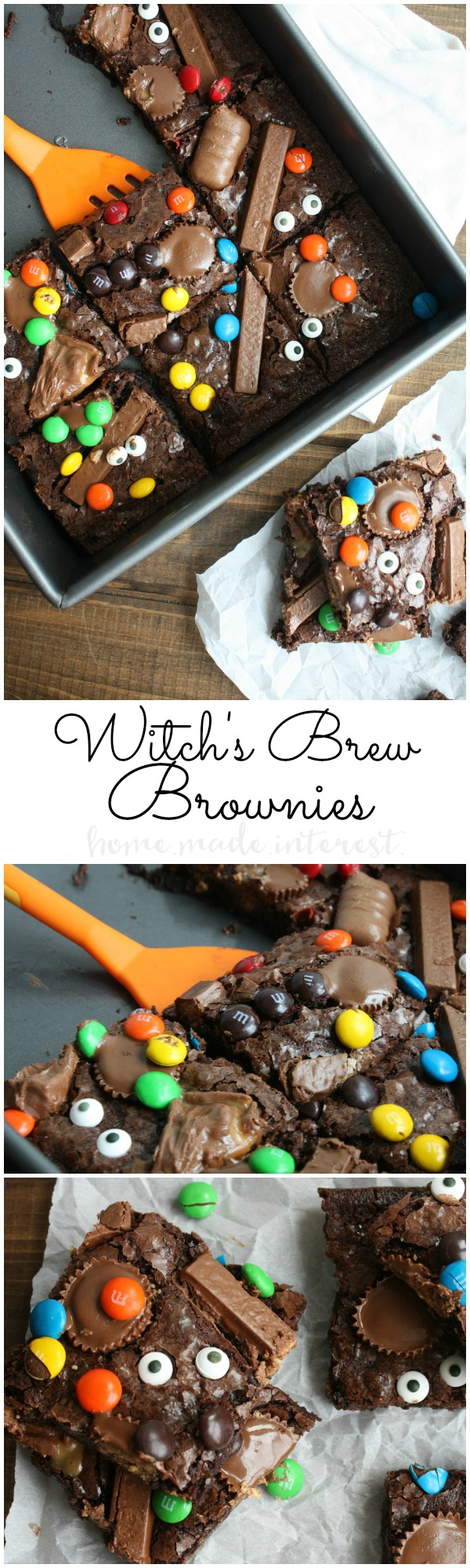 Witch's Brew Brownies | This ooey, gooey, chocolate brownie recipe is an easy Halloween dessert recipe for using up all of that leftover Halloween candy. Make Halloween fun this year with this easy Halloween dessert idea. It makes a great Halloween food idea for Halloween parties or just a fun Halloween dessert for your kids!