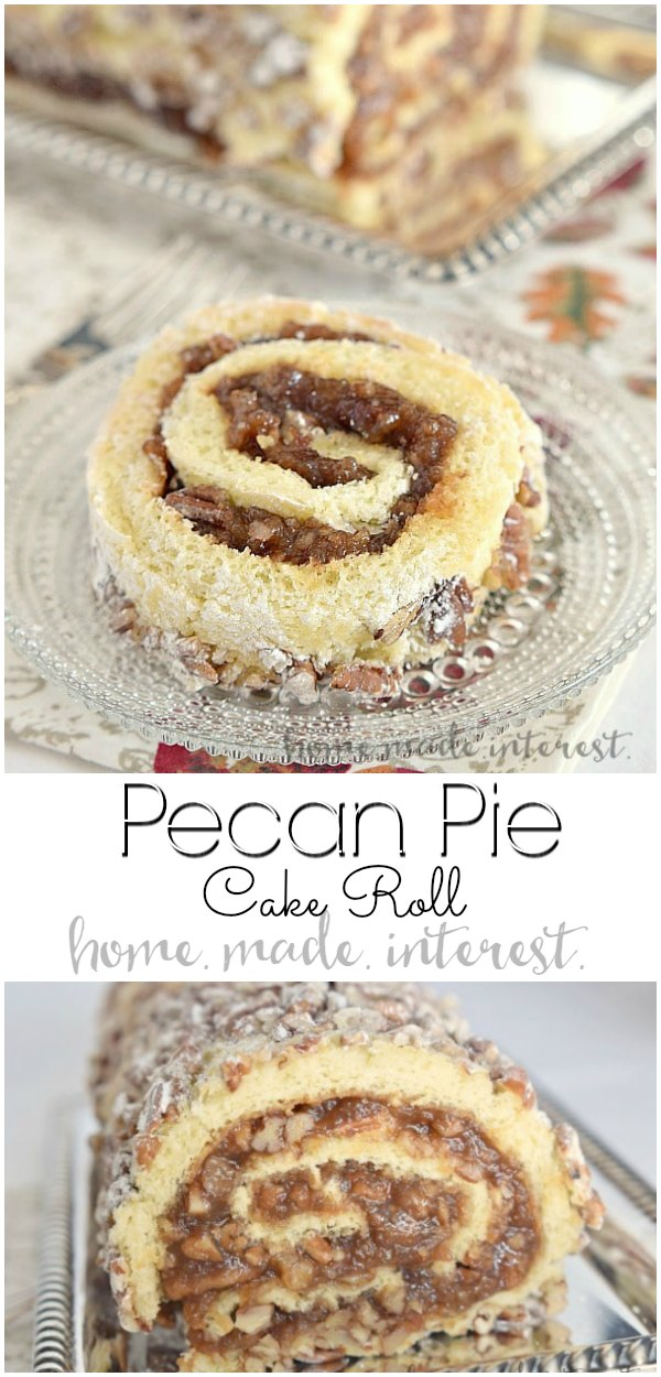 Pecan Pie Cake Roll | This simple cake roll recipe is a mix of a pecan pie recipe and a swiss cake roll. Pecan pie filling is rolled into a light sponge cake to make this pecan pie roll a perfect Thanksgiving dessert. If you love pecan pie you're going to love this pecan pie cake roll! #pecan #pecanpie #cake #thanksgiving #baking #dessert #homemadeinterest