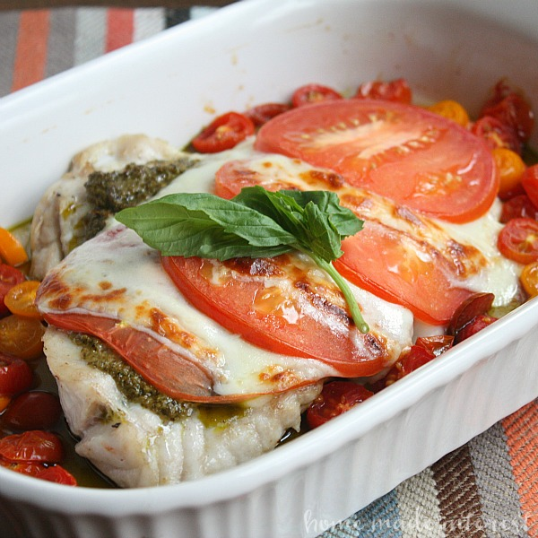 This grouper caprese is a simple seafood recipe made with grouper, fresh tomatoes, pesto, and mozzarella. It is the perfect fish dish for Lent and it is a healthy, low carb, gluten-free recipe for those who are dieting.