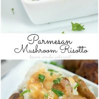 This creamy parmesan mushroom risotto is made with cheesy arborio rice and a creamy white wine mushroom sauce. This is a great side dish or dinner recipe for a romantic meal.