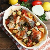 This Rockfish is baked in the Portguese style. Tomatoes, onions, and a little seasoning then baked until the fish is flakey. It is one of my favorite fish recipes and it is low calorie, low carb, and low fat.