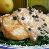 Capers, lemon, and parmesan crusted chicken make this lightened up Skinny Chicken Piccata a healthy lunch or dinner option that the whole family will love.