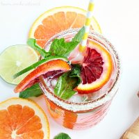 Blood oranges and a little mint make this Blood Orange Mojito beautiful and delicious. I'll be enjoying this easy mojito recipe all summer long. I might even try something different and make this my Cinco de Mayo drink!