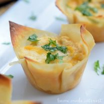 These spicy little cups are an easy appetizer recipe made with a muffin tin, wonton wrappers, and delicious buffalo chicken dip!