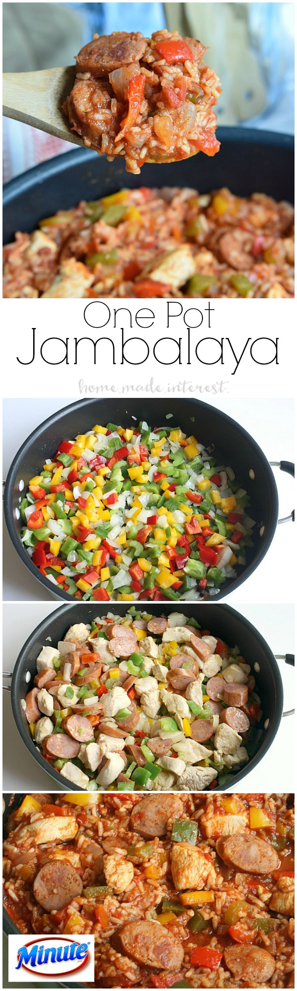 This Jambalaya recipe only takes one pot and 20 minutes! It is an easy weeknight recipe that the family will love.