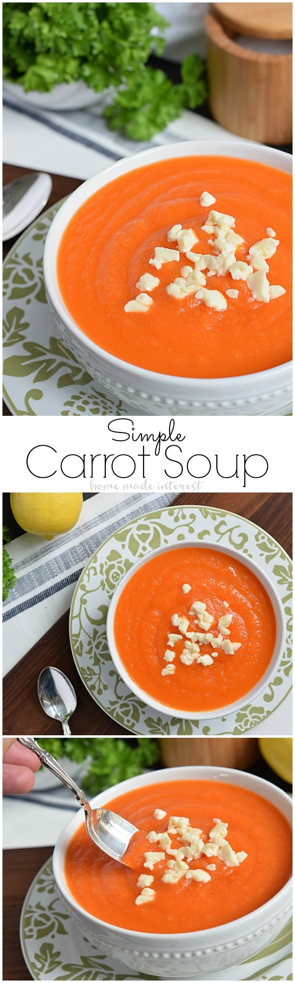 Carrot soup is an easy recipe that you can enjoy all year long. This easy carrot soup is light, and slightly sweet, with just the right amount of lemon to give it a little zing. This makes a great Easter recipe but I love it just about any time of the year!