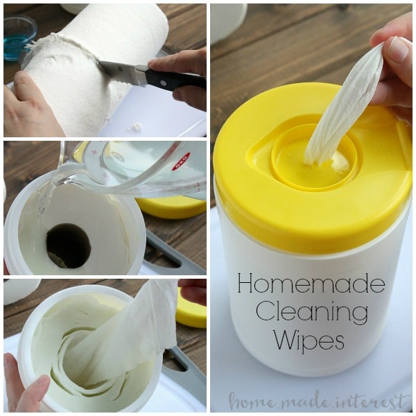 A tutorial on how to make homemade cleaning wipes in three different formulas, homemade wipes