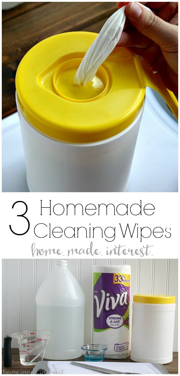 3 Homemade Cleaning Wipe Formulas | A tutorial on how to make homemade cleaning wipes in three different formulas, homemade wipes for glass, homemade bleach wipes, and homemade general cleaning wipes. A great way to save money and some inspiration to start your Spring cleaning! #springcleaning #cleaning #diy #homemadeinterest