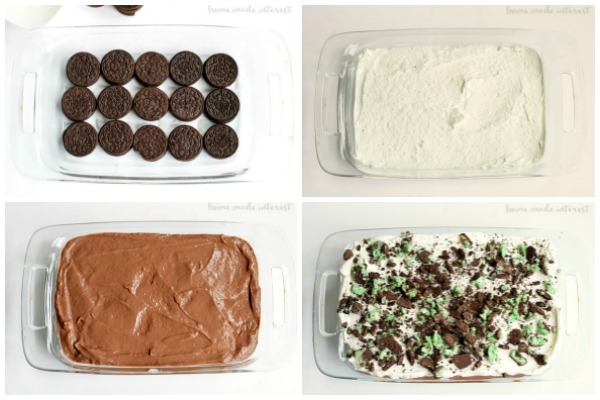 Layers of Mint Oreo, chocolate pudding, cream cheese, and Cool whip make a delicious mint oreo layered dessert that is a fun recipe for St. Patrick's Day!