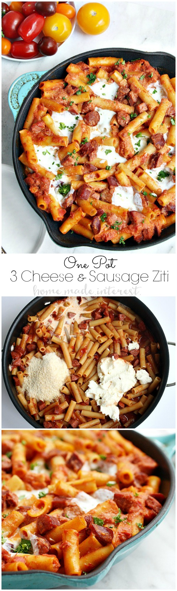 Parmesan, Mozzarella, Riccotta cheese, and sausage in a creamy tomato sauce cooked with ziti noodles. This one pot recipe makes an easy weeknight meal for the whole family. Everyone loves baked ziti and this simple one pot baked ziti recipe doesn't disappoint!