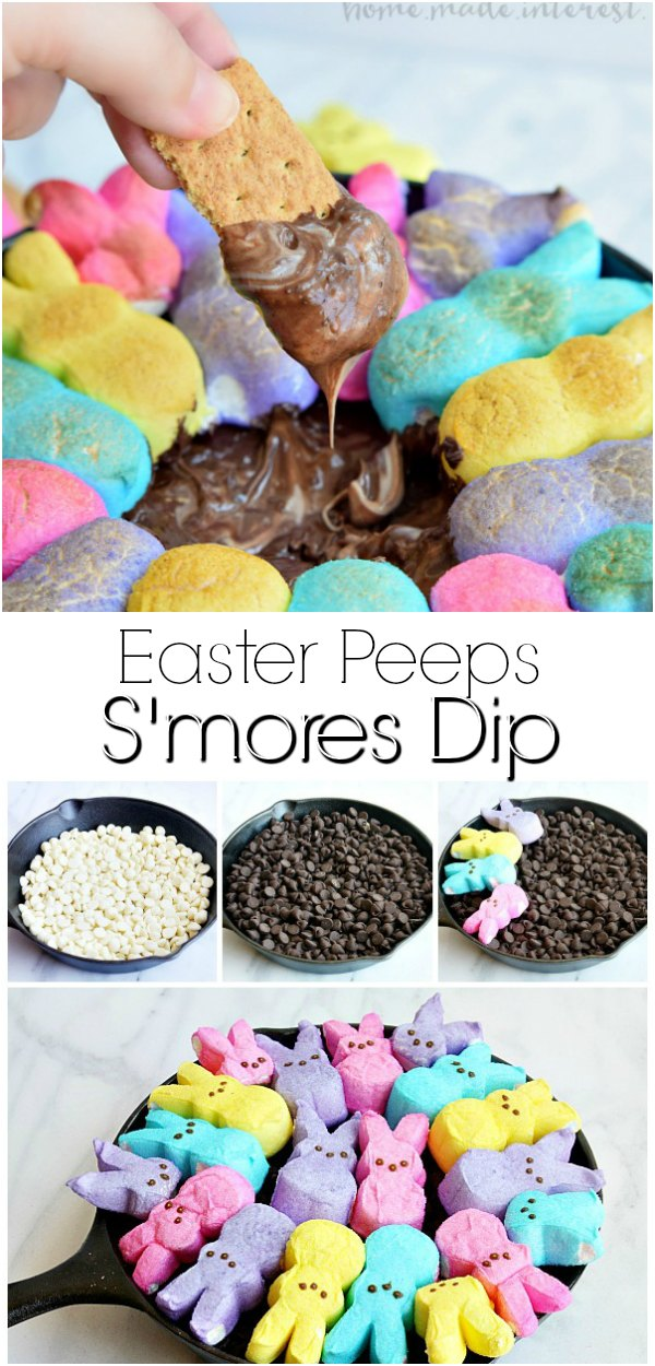 Easter Peeps S'mores Dip | This easy Easter dessert recipe is made with two kinds of chocolate and bunny rabbit peeps, toasted up into an ooey gooey s'mores dip.Use your leftover Easter candy to make this amazing skillet s'mores dip topped with marshmallow Easter Peeps. #easter #dessert #smores #peeps
